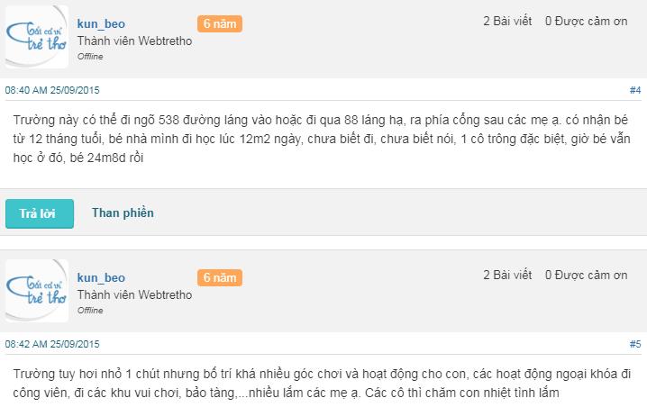 Nhận xét, đánh giá của phụ huynh về trường mầm non Ikids tại quận Đống Đa, Thanh Xuân, Hà Nội (Ảnh: Webtretho)