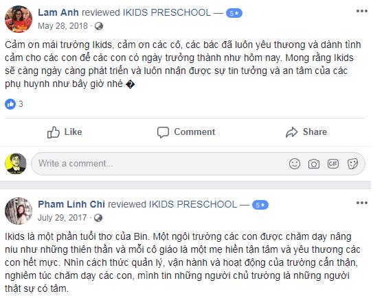 Nhận xét, đánh giá của phụ huynh về trường mầm non Ikids tại quận Đống Đa, Thanh Xuân, Hà Nội (Ảnh: FB trường)