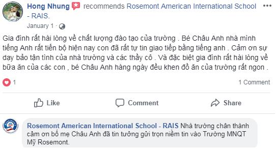 Nhận xét, đánh giá của phụ huynh về trường mầm non quốc tế Mỹ Rosemont tại quận Thanh Xuân, Hà Nội (Ảnh: FB trường)