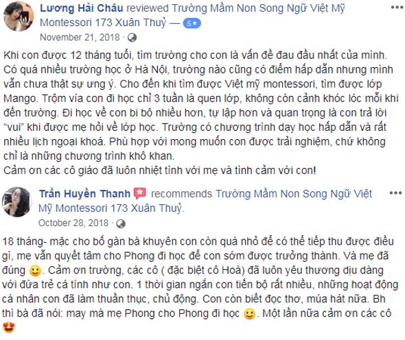 Nhận xét, đánh giá của phụ huynh về trường mầm non Việt Mỹ Montessori tại Hà Nội (Ảnh: FB trường)