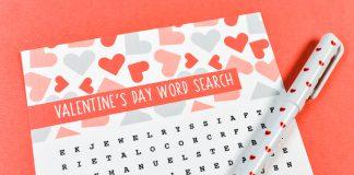 27 trò chơi tìm từ chủ đề Valentine (Ảnh: Hey, Let's Make Stuff)