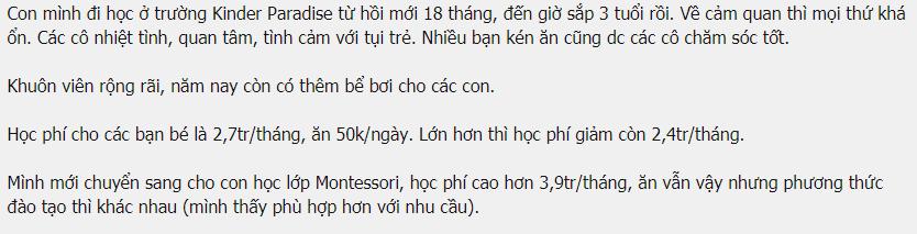 Học phí mầm non Thiên đường trẻ thơ tại quận Long Biên, Hà Nội (Ảnh: lamchame.com)
