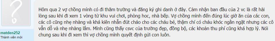 Nhận xét, đánh giá của phụ huynh về trường mầm non Thiên Đường Trẻ Thơ tại quận Long Biên, Hà Nội (Ảnh: Lamchame)