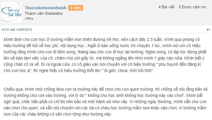 Nhận xét, đánh giá của phụ huynh về trường mầm non Thiên Đường Trẻ Thơ tại quận Long Biên, Hà Nội (Ảnh: Webtretho)