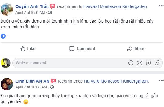 Nhận xét, đánh giá của phụ huynh về trường mầm non Harvard Montessori tại quận Đống Đa, Hà Nội (Ảnh: FB trường)