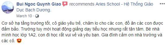 Nhận xét, đánh giá của phụ huynh về trường Tiểu học Bạch Dương tại quận Hoàng Mai, HN (Ảnh: FB trường)