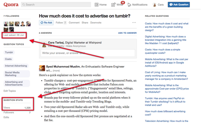 Quora, trang web giúp cải thiện kỹ năng viết (Ảnh: Wishpond blog)
