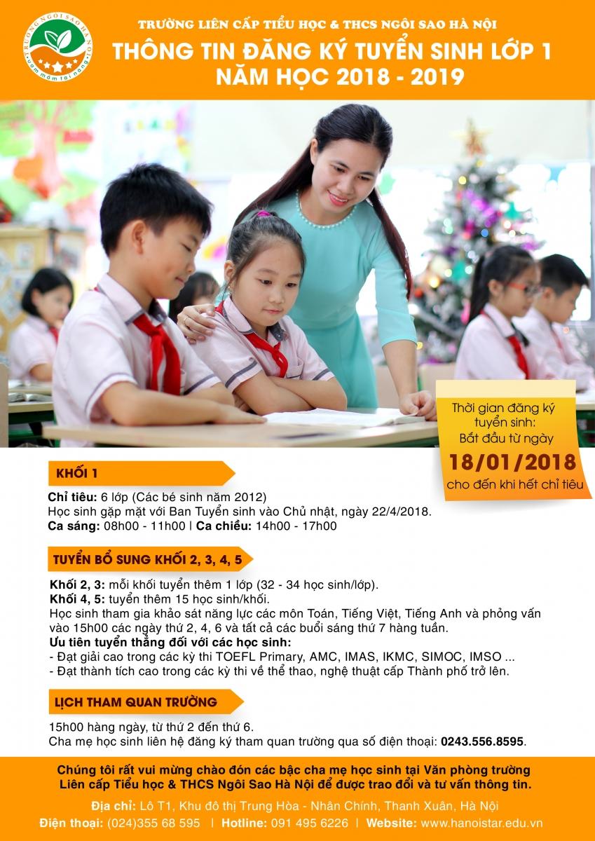 Thông tin tuyển sinh Tiểu học Ngôi sao Hà Nội năm học 2018-2019 (Ảnh: website nhà trường)