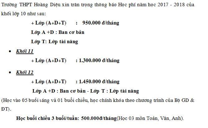 Học phí trường Hoàng Diệu - Victoria, cấp THCS và THPT, quận Hai Bà Trưng, Hà Nội (Ảnh: website nhà trường)