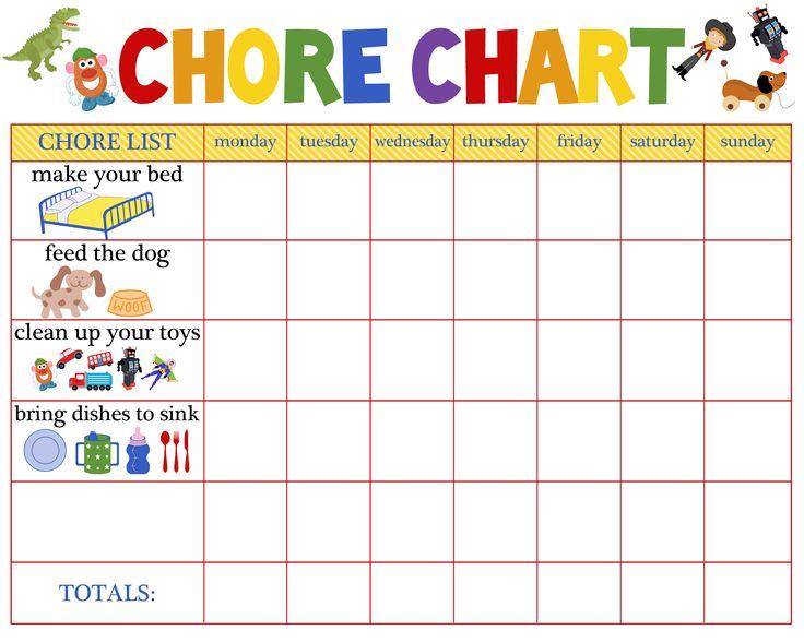 Mẫu bảng phân công việc nhà cho trẻ (Ảnh: Pinterest)