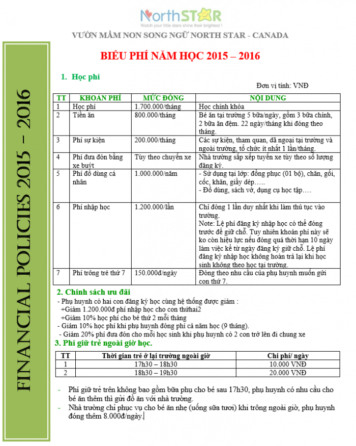 Học phí năm học 2015-2016 trường mầm non song ngữ North Star Canada, quận Hoàng Mai, Hà Nội (Ảnh: website trường)