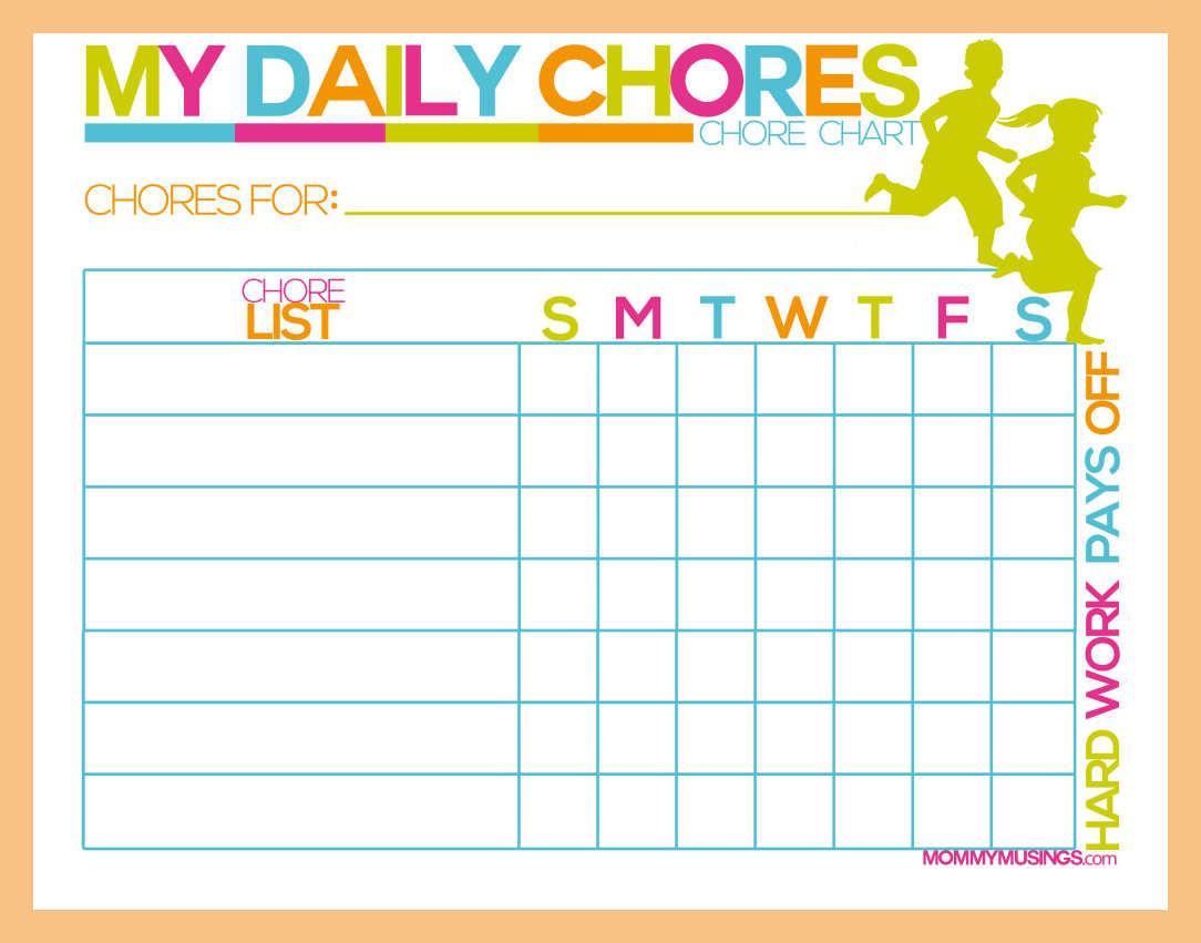 Mẫu bảng phân công việc nhà cho trẻ (Ảnh: resume pdf)