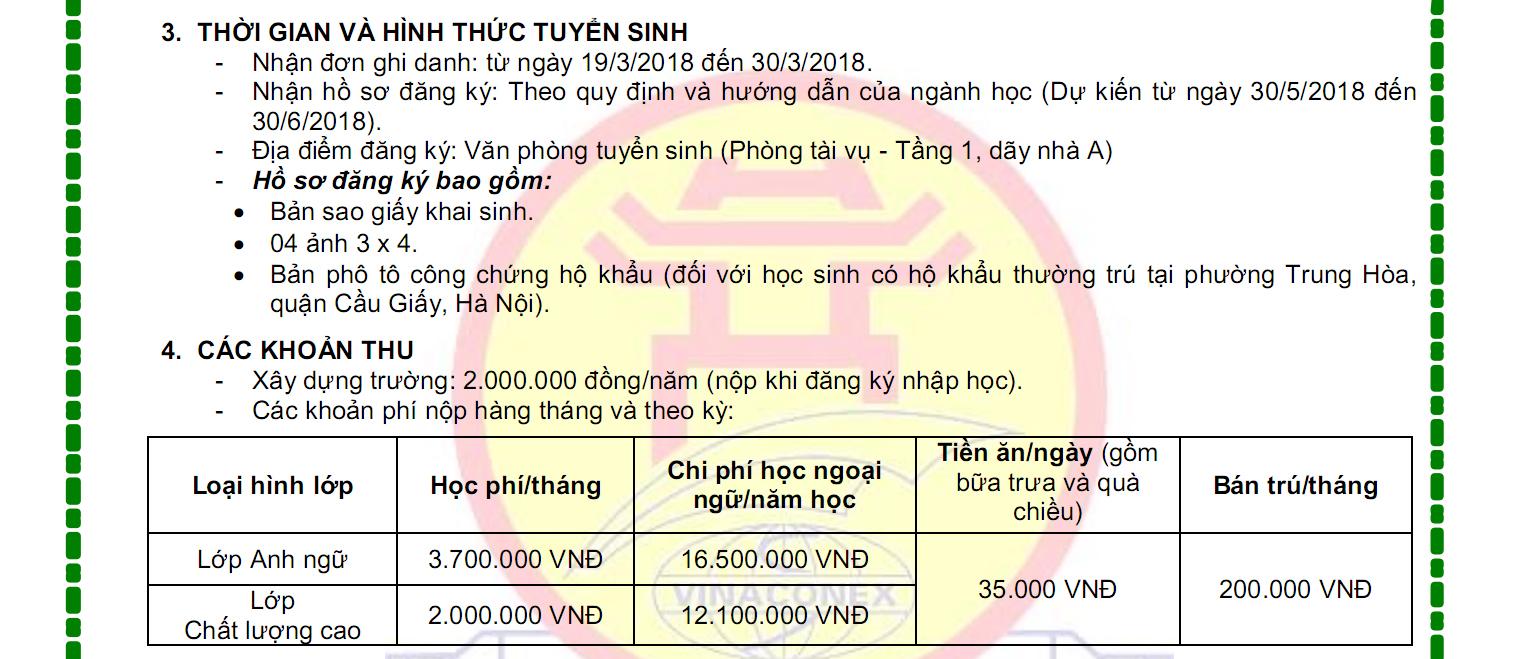 Thông tin tuyển sinh Tiểu học Lý Thái Tổ năm học 2018-2019 (Ảnh: website nhà trường)