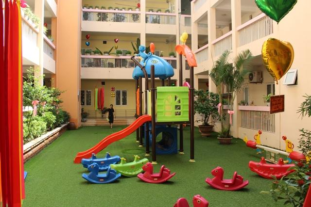 Cơ sở vật chất trường mầm non Việt Triều Hữu nghị tại quận Đống Đa, Hà Nội (Ảnh: website trường)