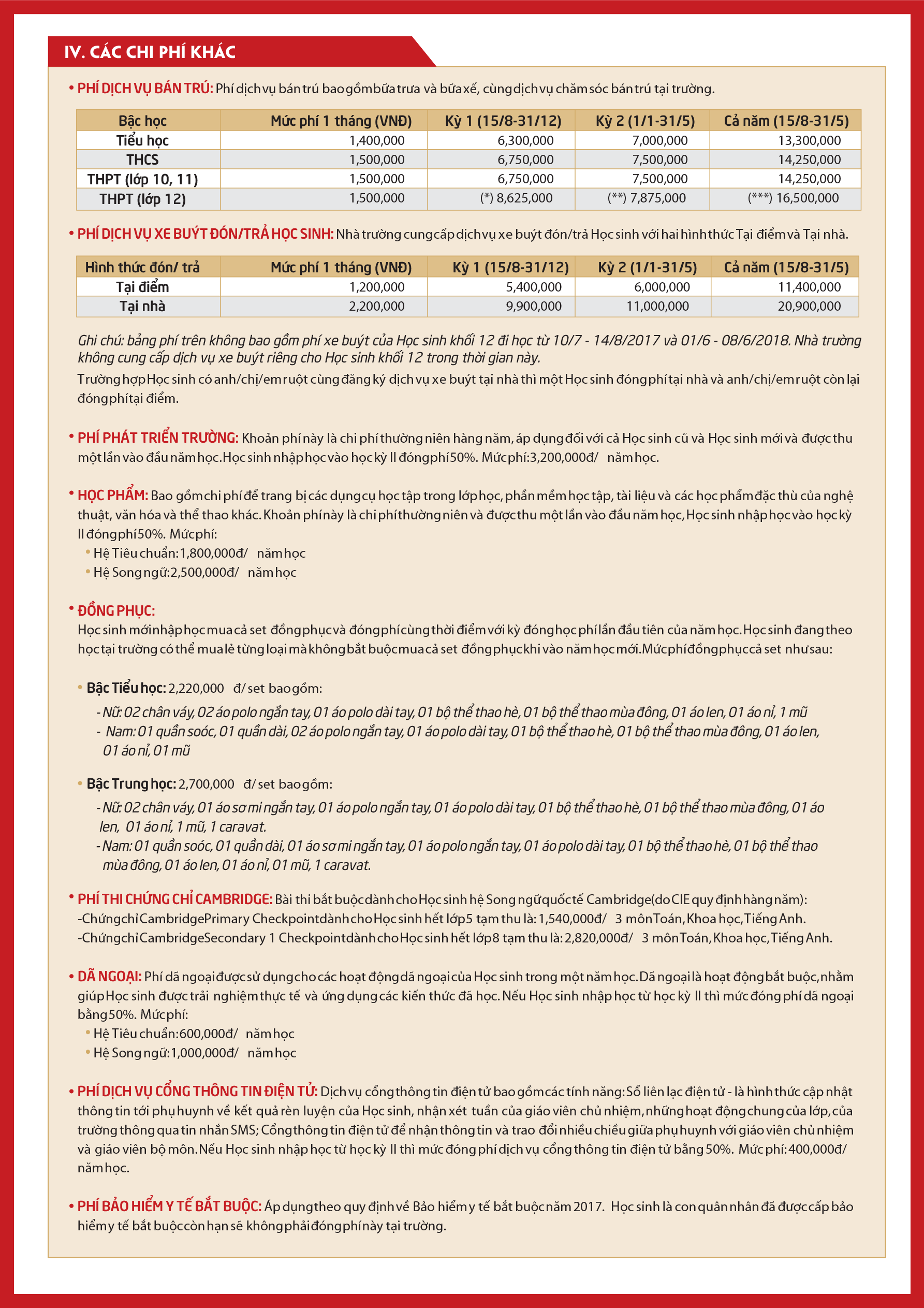 Học phí trường phổ thông liên cấp Vinschool (Ảnh: website nhà trường)