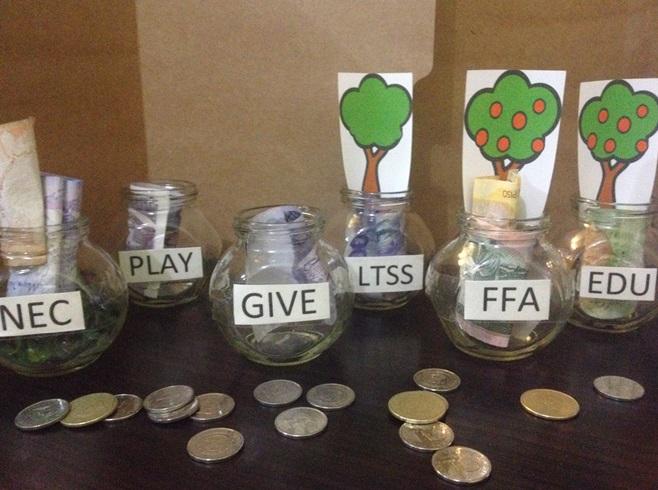 Phương pháp JARS giúp dạy bé quản lý tài chính bằng 6 chiếc hũ: chi tiêu cần thiết 55%, tiết kiệm cho tương lai 10%, giáo dục 5%, đầu tư 10%, hưởng thụ 10%, cho đi 10%.