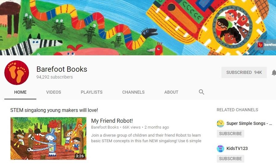 Barefoot Books – kênh YouTube giúp trẻ học tiếng Anh qua những cuốn sách hát