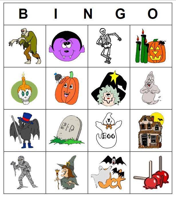 Một bảng trò chơi Bingo với từ vựng được hình ảnh hoá, chủ đề Halloween (Ảnh: Windhamcoop).