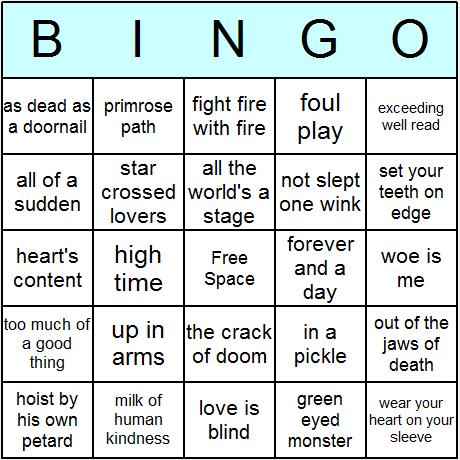 Bảng trò chơi Bingo với các cụm từ trong tác phẩm của Shakespears (Ảnh: Bingo Card Printer).