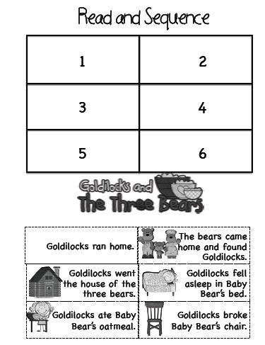 Bài tập xâu chuỗi với truyện Goldilocks and the three bears