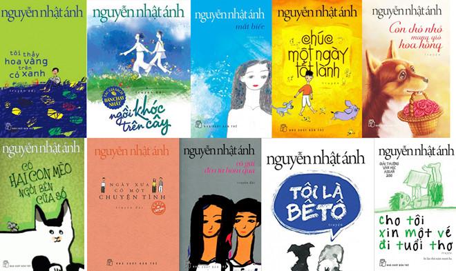 Những cuốn sách của nhà văn chuyên viết cho tuổi teen Nguyễn Nhật Ánh (Ảnh: Zing News)